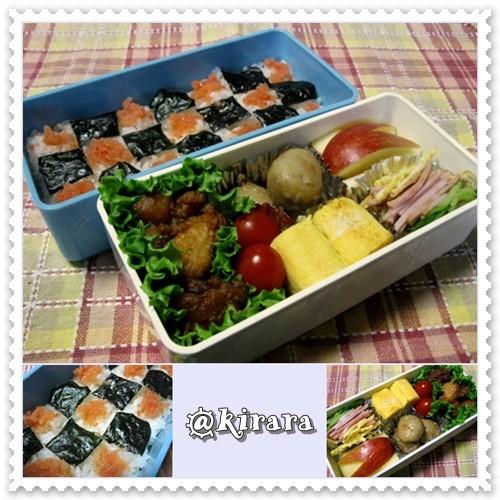 ◆11.04 明太子海苔弁のお弁当(長女)♪