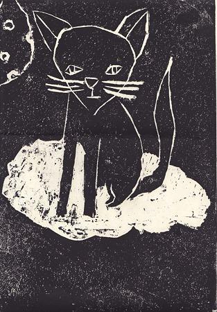 ネコと月 版画 龍之介10歳