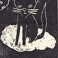 写真: ネコと月 版画 龍之介10歳