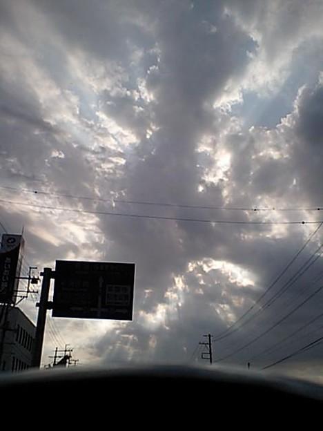 雲の切れ間から見える陽