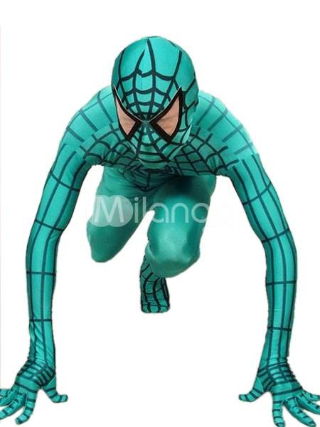 グリーンとブラック ライクラ スパンデックス スパイダーマン 全身タイツ