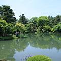 新緑と霞が池に浮かぶ蓬莱島(左) 兼六園