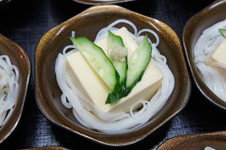 豆腐のひし形 胡瓜の扇